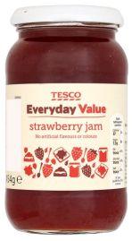 Tesco Everyday Value Strawberry Jam, 29p a jar. Ambrosia of the gods.