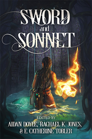 Cover for the Sword and Sonnet anthology: a battlepoet, armed with a large book and a fistful of fire, faces away from the viewer in a flooded library. Something scaled and monstrous moves through the knee-deep water