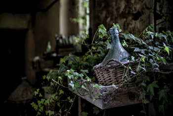 A dusty bottle sits in a wicker basket in a dimly lit cottage, surrounded by ivy